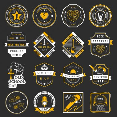 Set of vector logos and badges of music