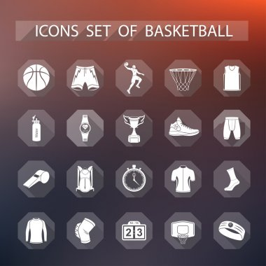 Vector set of icons basketball in flat style