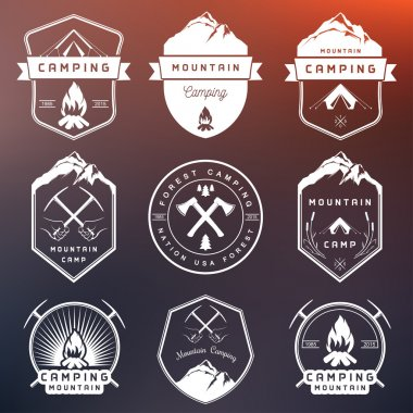Set of Vector Badges Camping and Hiking