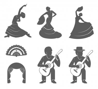 Set Silhouettes and Signs Flamenco