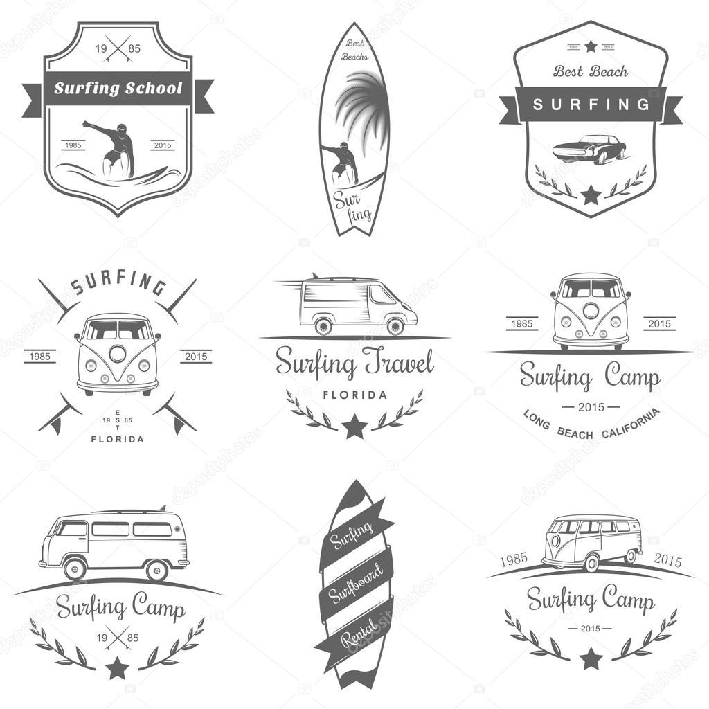 Set of vector logos and badges surfing, camping, hiking and outdoor activities. The collection of symbols and emblems surf clubs, surf schools, rental, camping and beaches stock vector