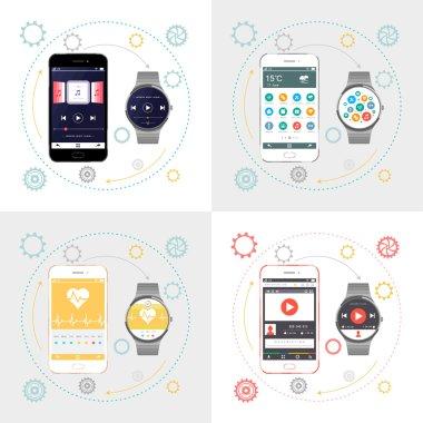 Vector Smartphone and Smart Watch
