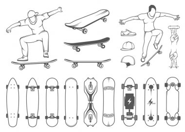Set of skateboards and skateboarding of equipment, clothing, protection, and elements of street style. Silhouettes tricks skateboarders, and big collection symbols skateboards stock vector