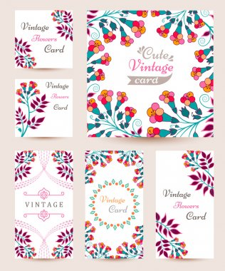 Elegant Cards with Multi Colored Flowers and Pattern