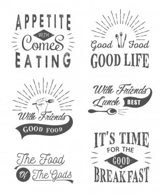 Set Vintage Food Typographic Quotes and Logos