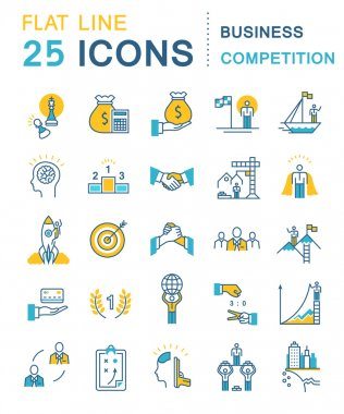 Set Vector Flat Line Icons Business Competition