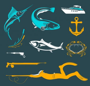 Vector Set of Icons and Signs of Equipment for Spearfishing