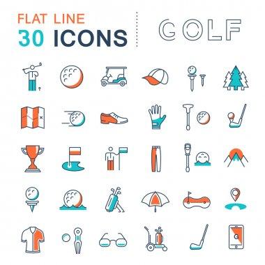 Set Vector Flat Line Icons Golf