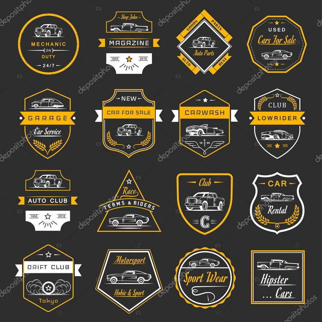 Vector Set of Vintage Car Badges and Sign — Stock Vector ...