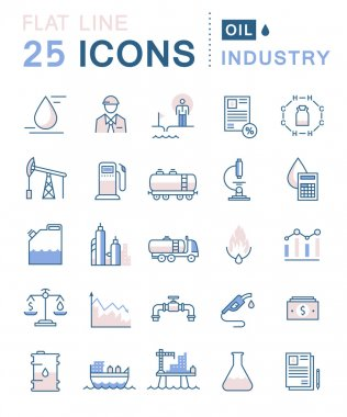 Set Vector Flat Line Icons Oil Industry