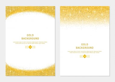 Vector Set Gold Glitter Card and Background