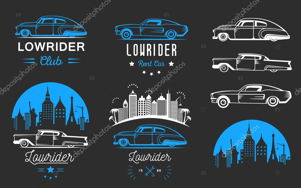 Set Vintage Lowrider Logo Badge Sign Emblems Sticers And Elements Design Collection Blue White Classic Retro Old Car Icon