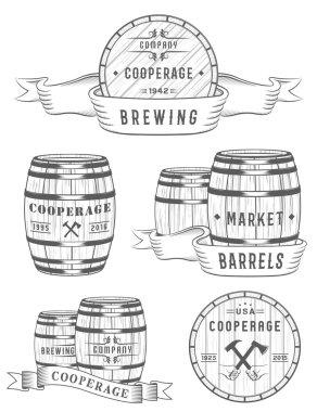 Set Wooden Casks Badges and Cooperage Logo