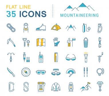 Set Vector Flat Line Icons Mountaineering