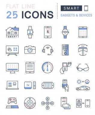 Set vector line icons in flat design smart device and gadgets, smart, home, car drones and other device with elements for mobile concepts and web apps. Collection modern infographic logo and pictogram clip art vector