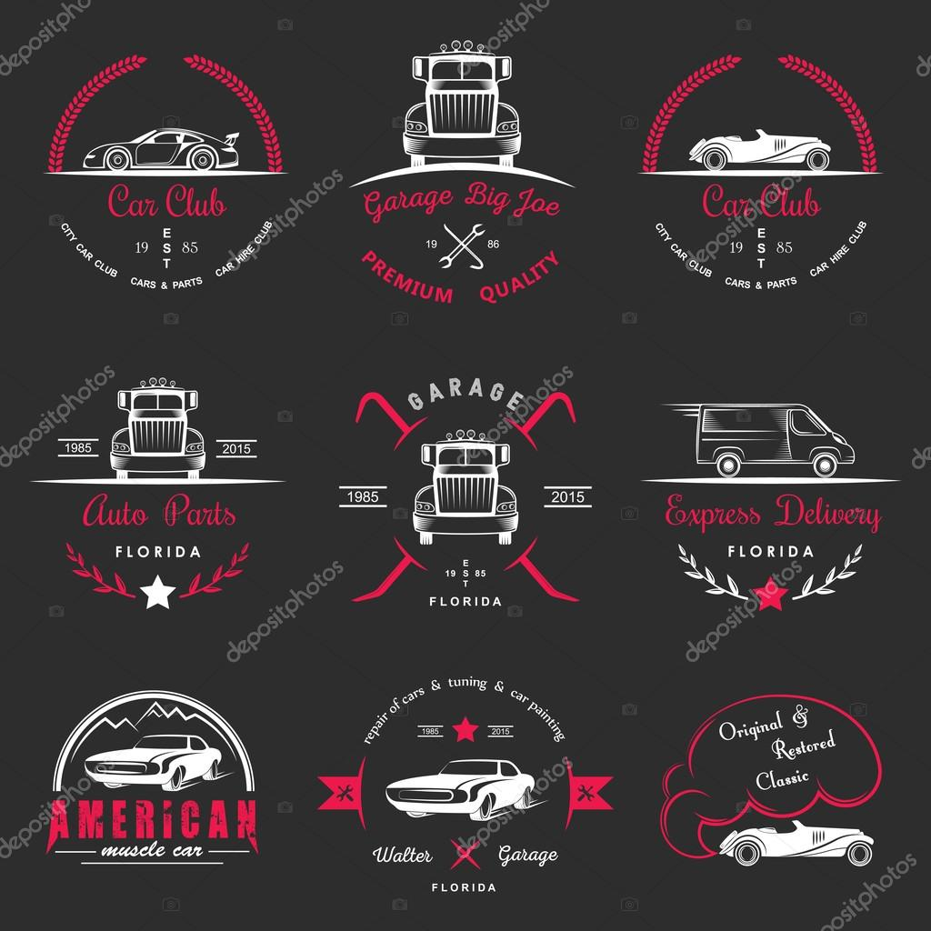Set Of Vintage Badges Car Club And Garage Stock Vector