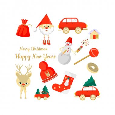Christmas, New Year icons. Snowflakes, Santa Claus, Christmas tree, auto, lettering deer and snowman Vector illustration icon
