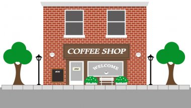 Vintage street view with Coffee Shop