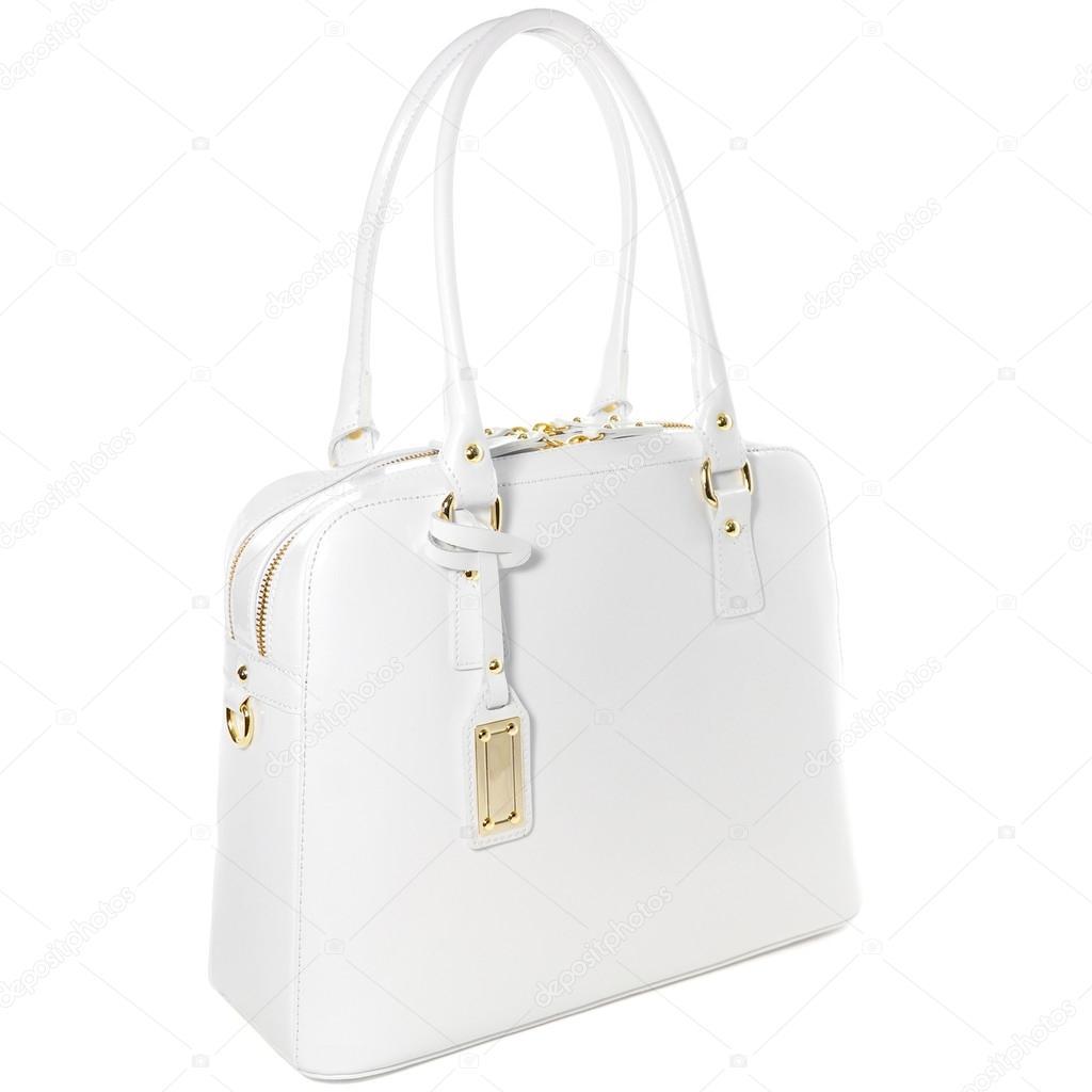 Elszigetelt fehér arany bizsu női fehér bőr táska — Stock Fotó ... 9f5e368241