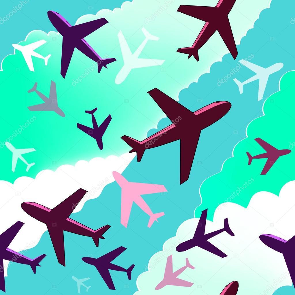 Aviones Con Patrón Fondo De Aviones Patrón De Fondo Transparente