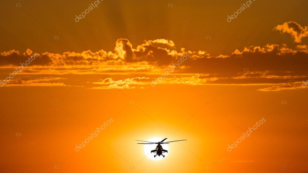 Russian Combat helicopters, Mi-35, warm sunset