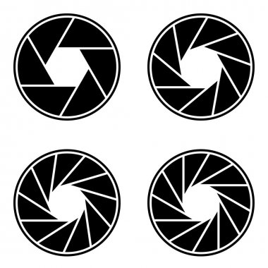 Shutter aperture abstract icons