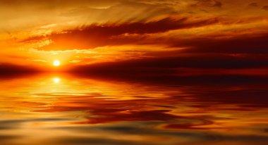 Warm sea sunset