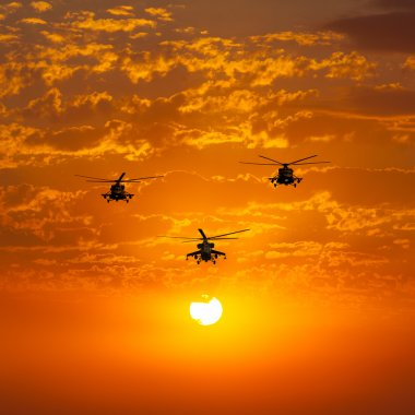 Group combat helicopters, Mi-24, Mi-8, warm sunset