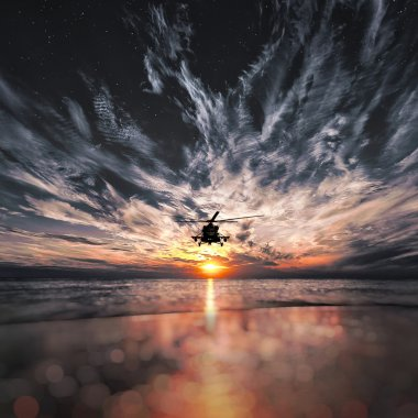 Mi-8 helicopters, warm sunset, sunset on the beach