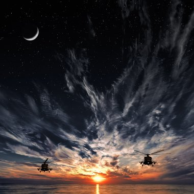 Mi-8 helicopters, warm sunset, sunset, moon and starry sky
