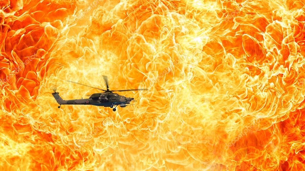 Russian  Combat helicopter on a fiery background, Fire flames