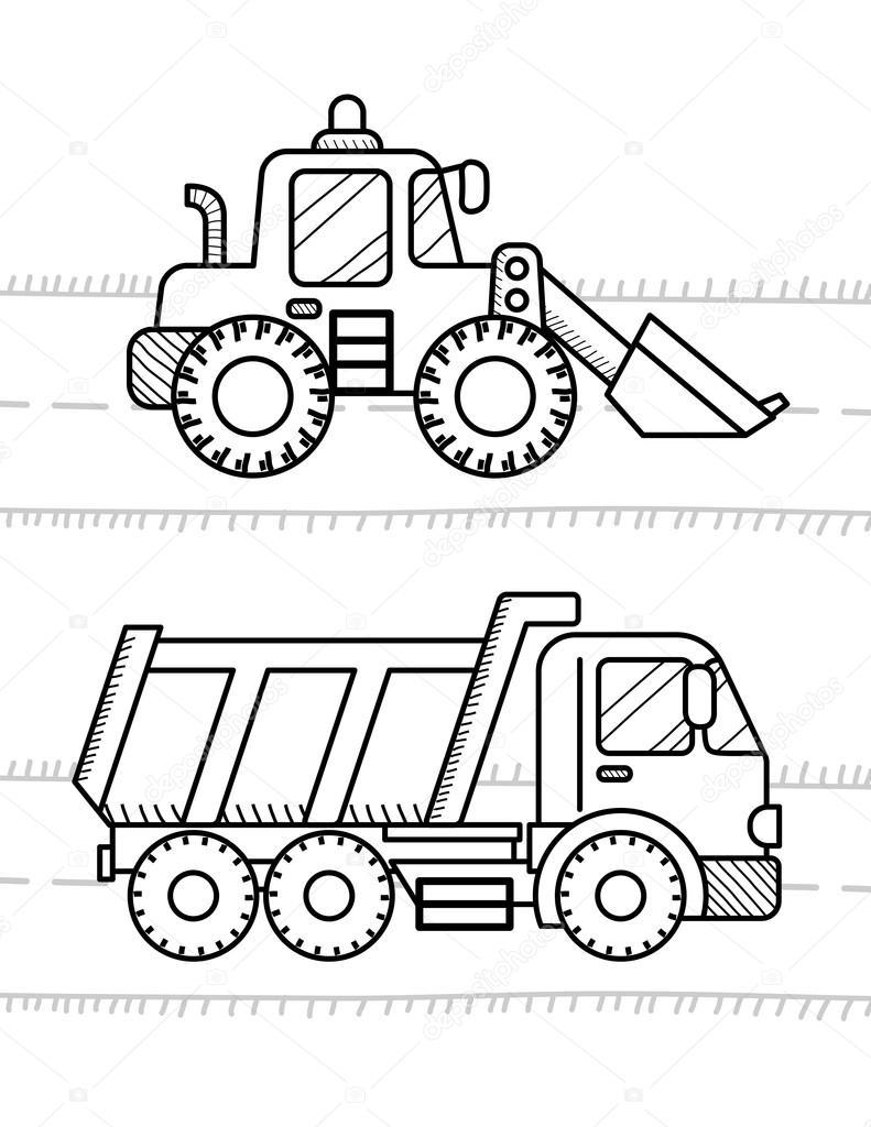 Automóviles y vehículos de libro para colorear para niños — Archivo ...