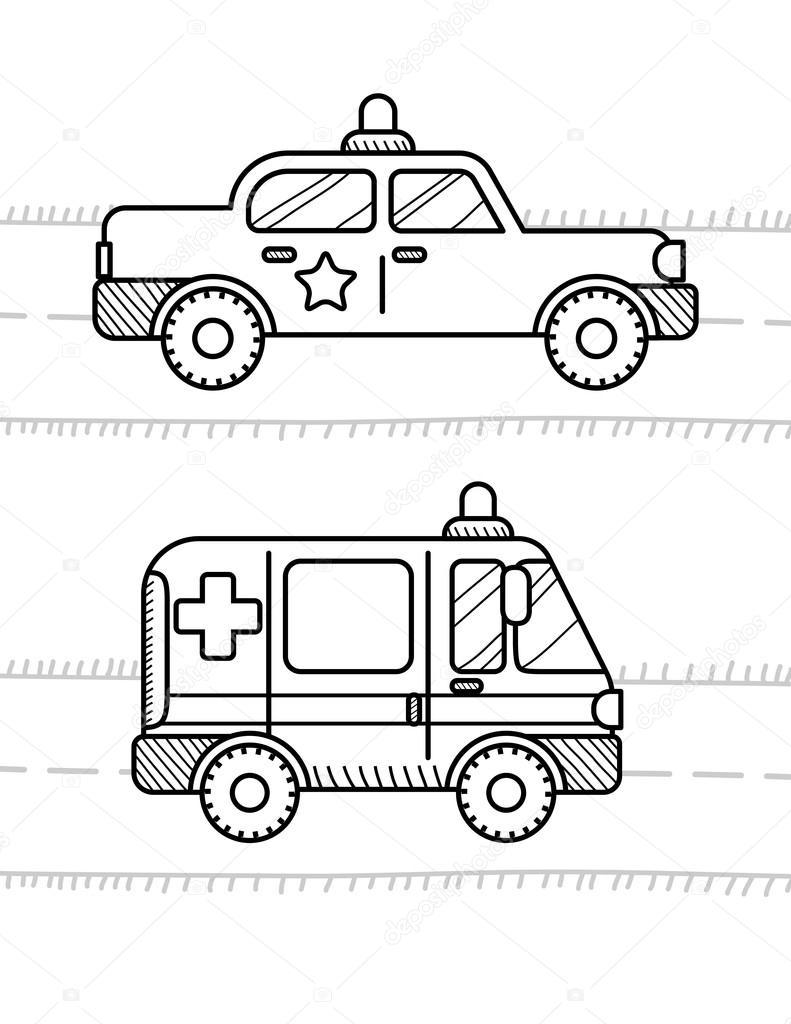 Libro para colorear para niños de coches — Vector de stock ...