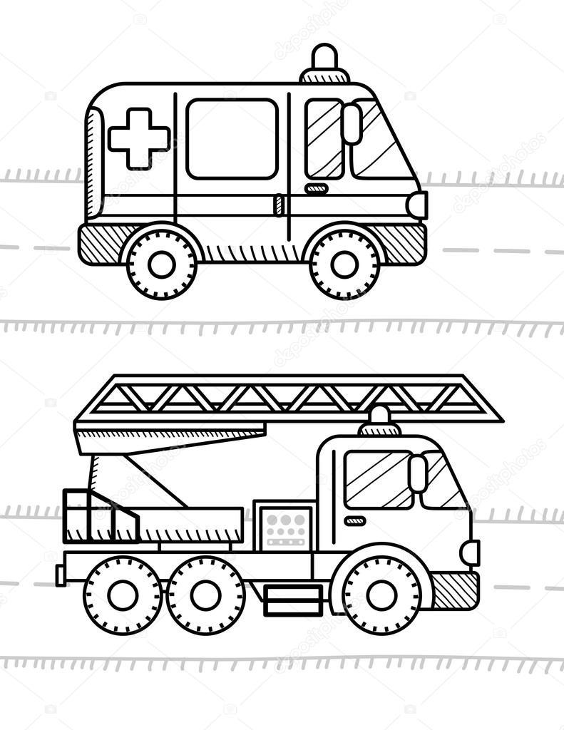 Arabalar Ve Araçlar Boyama Kitabı Stok Vektör Soniaeps 105256824