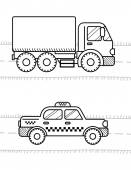 Fotografie Dump Truck and taxi cab illustration