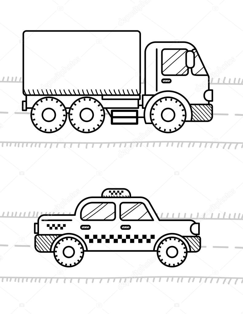 Dibujos Camiones Urbanos Para Colorear Ilustración Cabina De