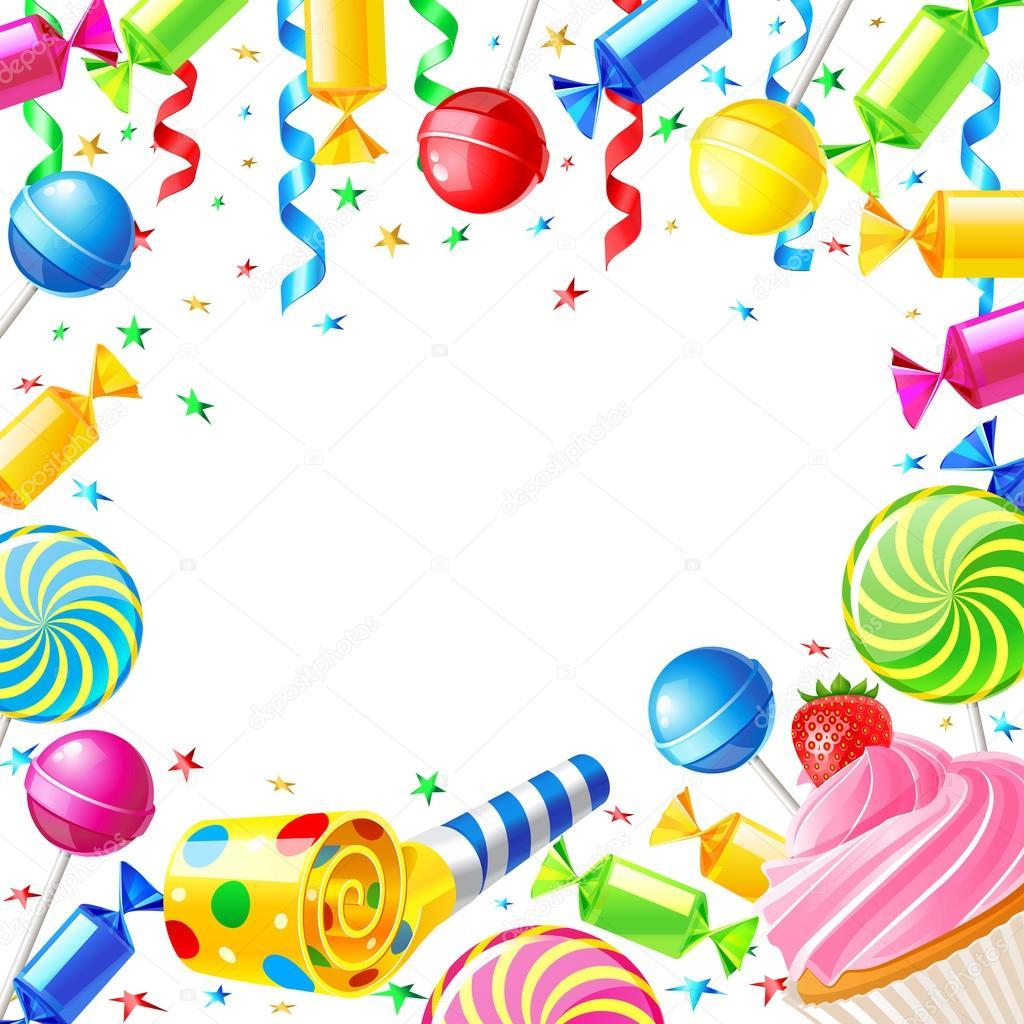 Fondo de cumpleaños con dulces — Archivo Imágenes Vectoriales ...