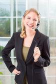 Podnikání žena sluchátka