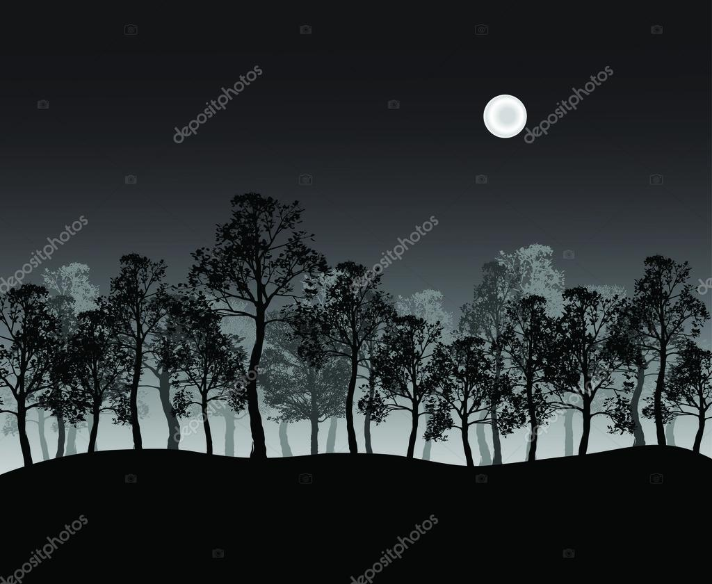 Print of group of trees on hill