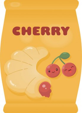 Yellow pack or wrap for a croissant with cherry filling. Cute smiling cherry. Vector illustration. icon