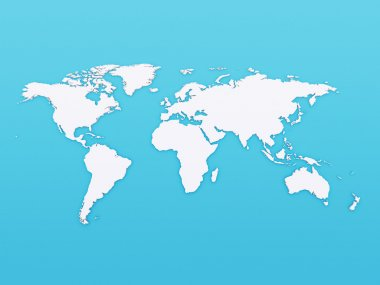 3D world map on blue background
