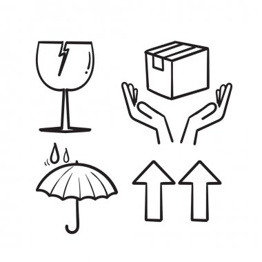 Hand drawn fragile package symbol illustration icon in doodle icon