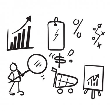 Hand drawn doodle Revenue management abstract concept vector illustration set icon