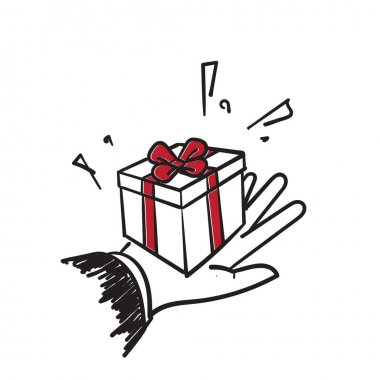 Hand drawn doodle hand gives a gift box with a bow illustration icon