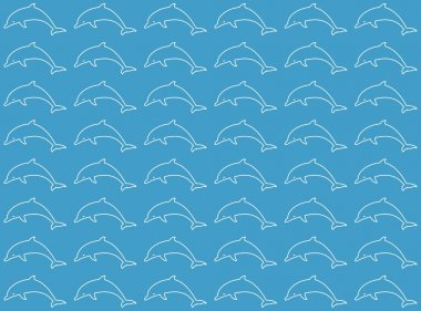 Blue background with white dolphin leaping dolphins in a row and one below the other on a blue background