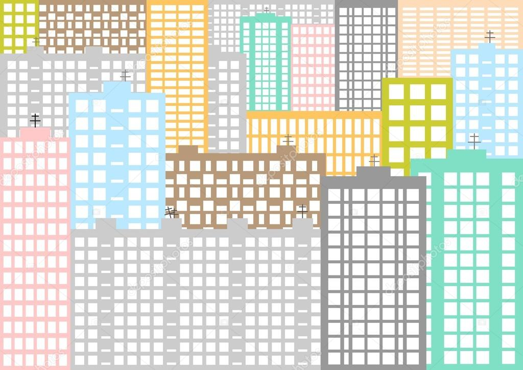 Fondo urbano con panel coloreado de casas y apartamentos con ...
