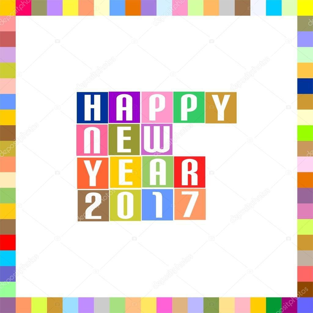 Saludos de año nuevo para 2017 con rotulación de feliz año nuevo ...