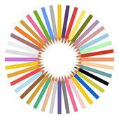 Sada barevných tužek ostré uprostřed kruh na bílém pozadí
