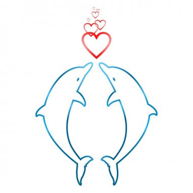 Two dolphins jumping in love with hearts