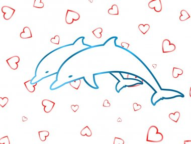 Two leaping dolphins on heart background
